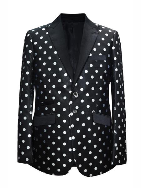 Mens 2 Button Dot Peak Lapel Black ~ White Sport coat Blazer