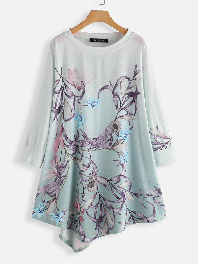 Floral Printed O-neck Asymmetrical Long Sleeve Blouse