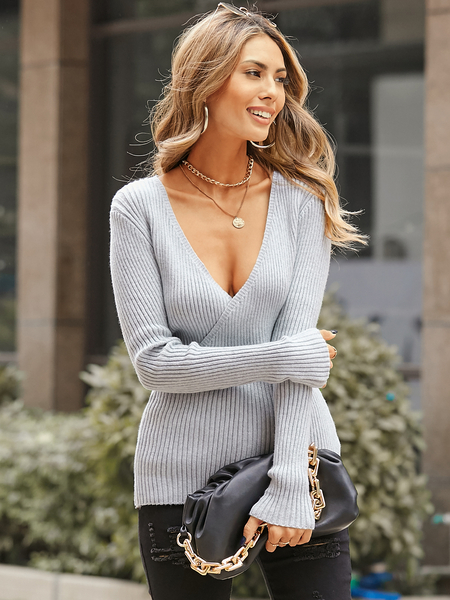 YOINS V-neck Wrap design Knit Top