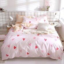 Set de cama con estampado de corazon sin relleno