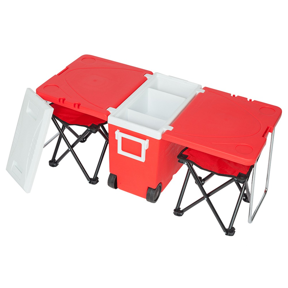 Outdoor Portable Multifunctional Folding Refrigerator Cooling Function Insulation With Two Stools For Picnic Hiking - Red
