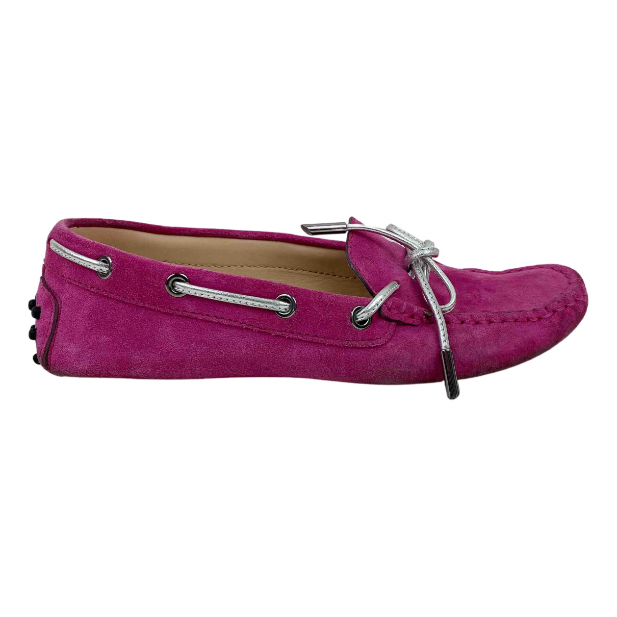 Tod's Gommino Pink Suede Flats for Women 37 EU
