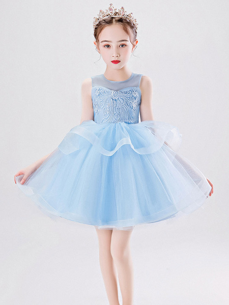 Milanoo Flower Girl Dresses Jewel Neck Tulle Sleeveless Short Princess Kids Social Party Dresses