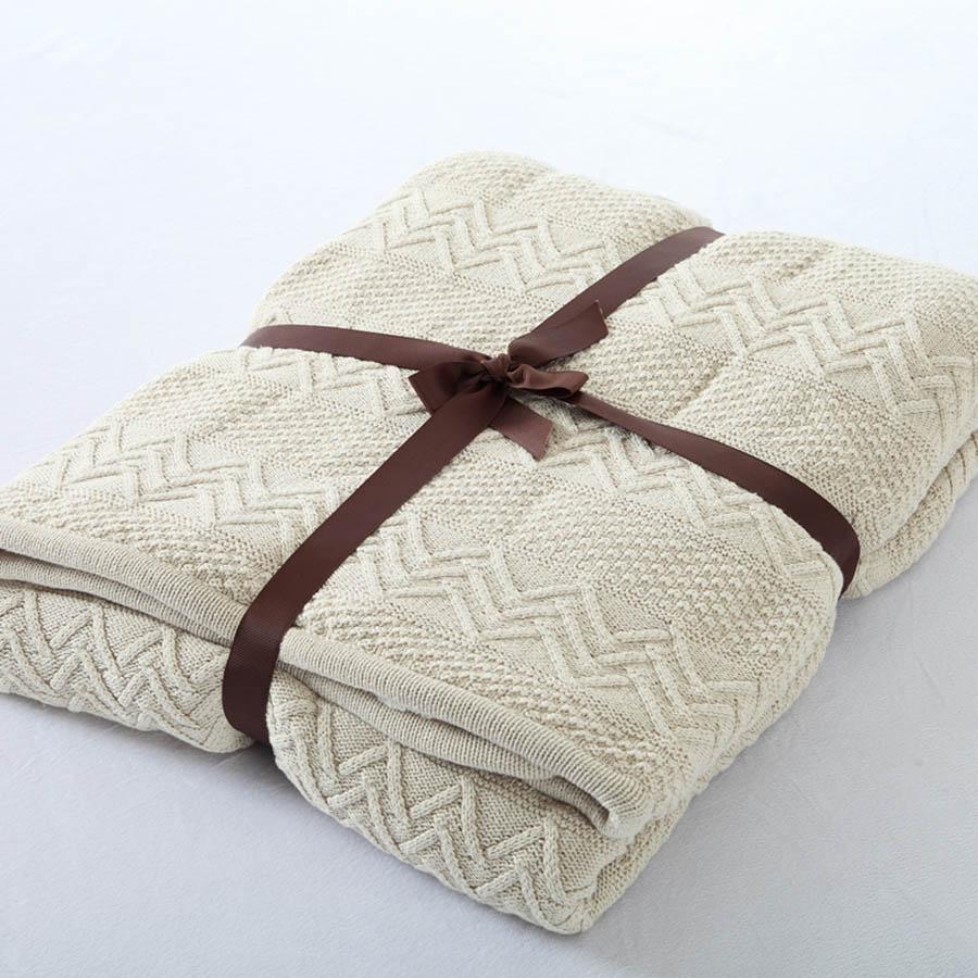 Cotton Material Knitting Technics Plain Pattern Wool Blanket