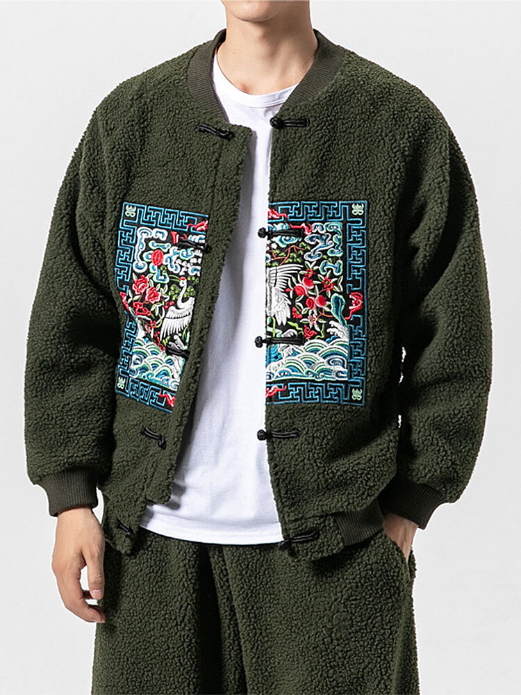 Mens Fashion Chinese Style Printing Long Sleeve Polar Fleece Zipper Jacket