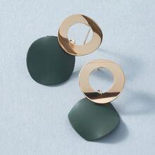 Pendientes de color metalico geometrico 1 par
