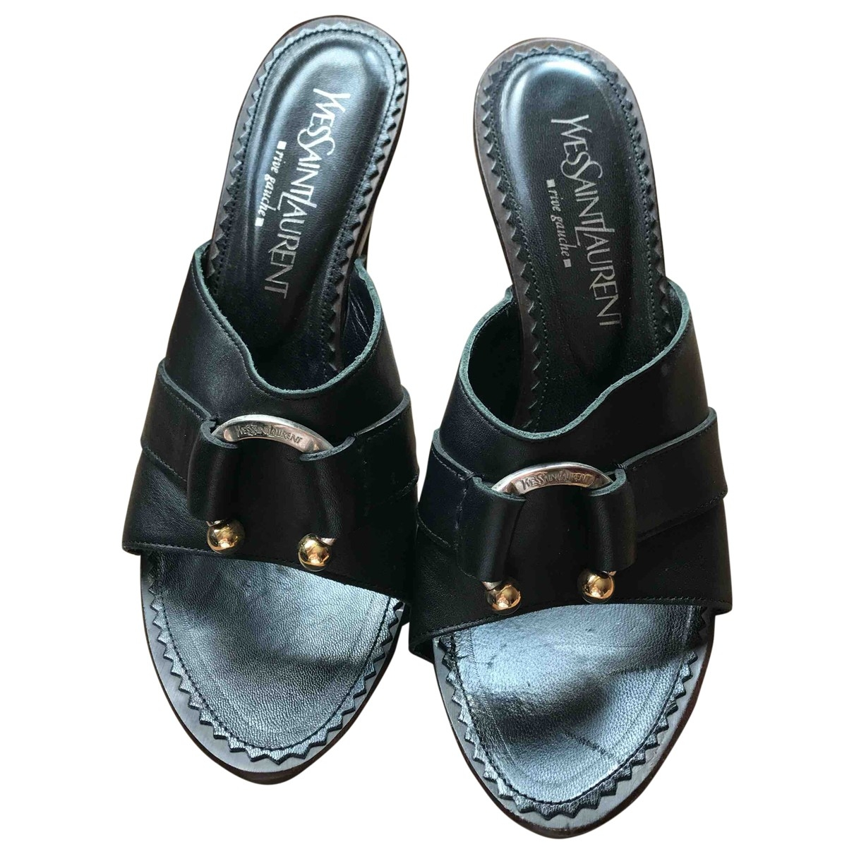 Yves Saint Laurent \N Black Leather Heels for Women 37 EU