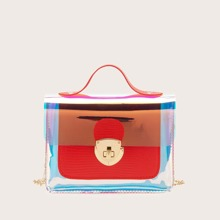 Twist Lock Holographic Flap Chain Satchel Bag