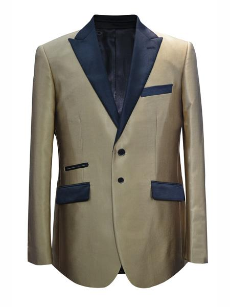 Mens 2 Button Peak Lapel Champagne Sport Coat Blazer