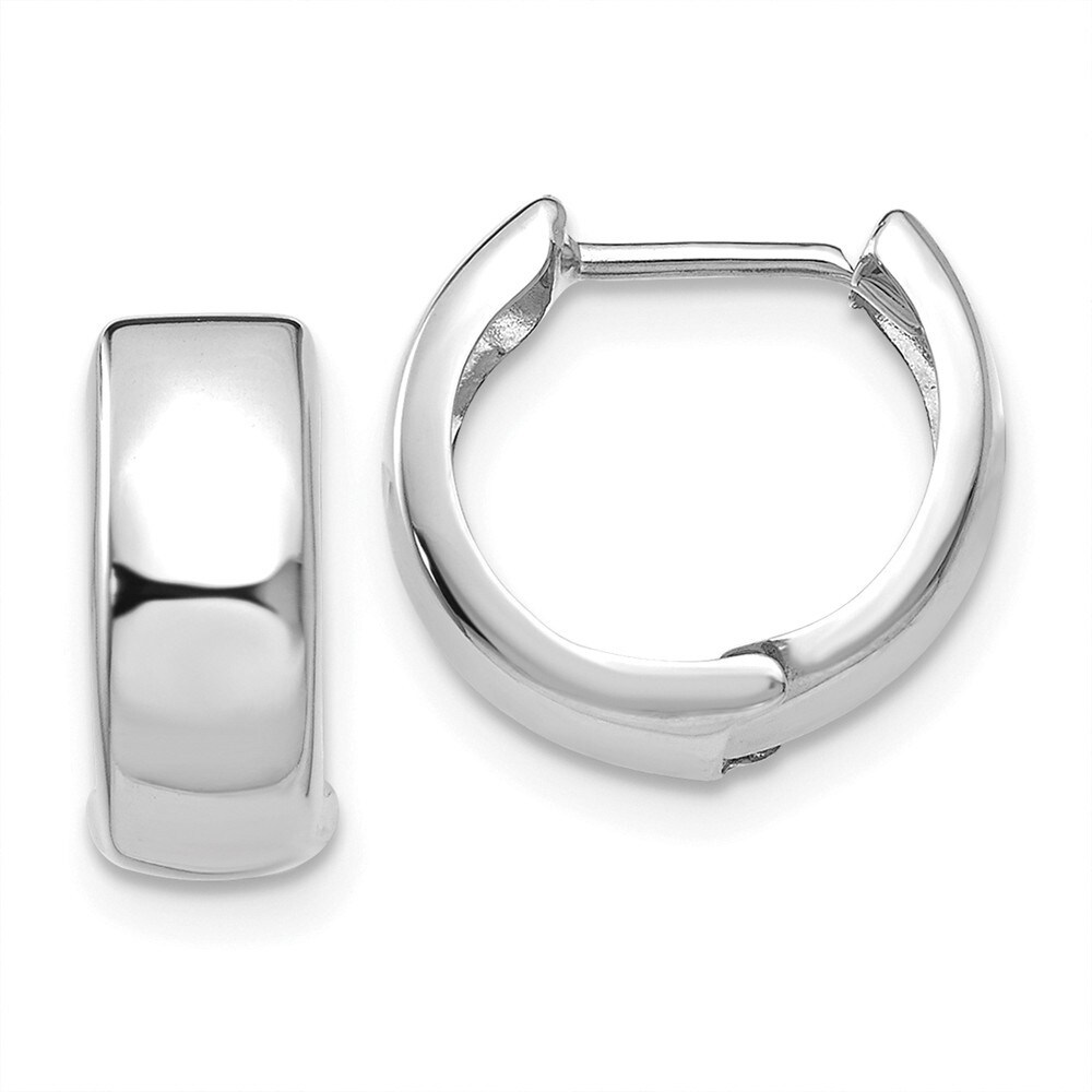 Curata 14k White Gold Polished Hinged Hoop Earrings