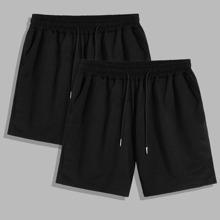 Men 2pcs Drawstring Waist Shorts