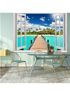3D Sea Theme Window and Chairs Printed Blackout Curtain Roller Shade