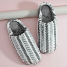 Men Round Toe Striped Fluffy Slippers