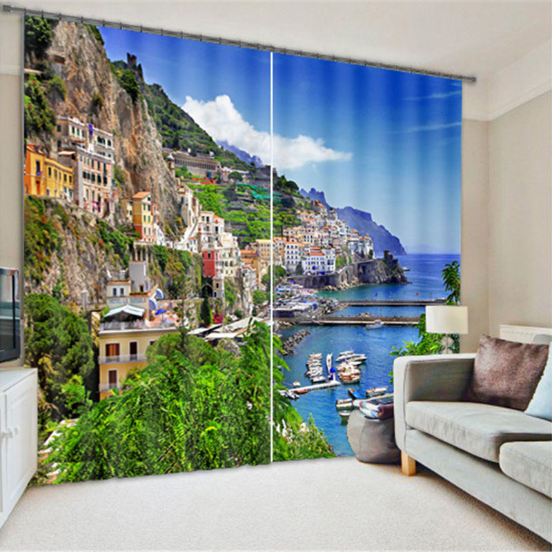 Blackout and Decorative 3D Scenery Curtains with 260 Gram Weight Thick Polyester