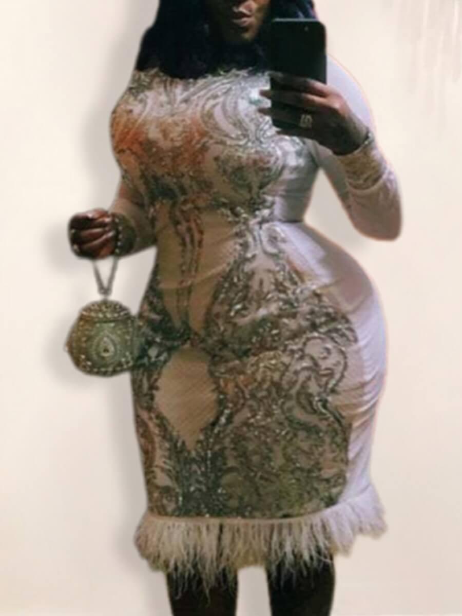 LW Lovely Stylish O Nek Patchwork White Knee Length Plus Size Dress
