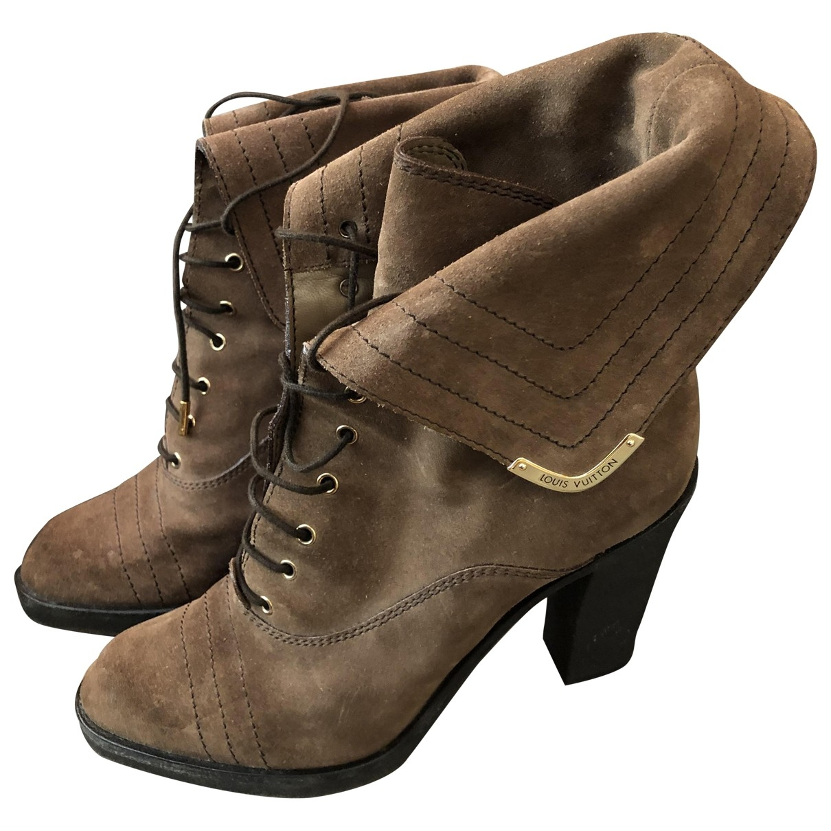 Louis Vuitton \N Brown Suede Ankle boots for Women 37.5 EU