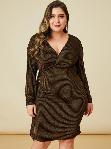 YOINS Plus Size Black Glitter Wrap Design Dress