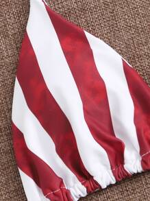 American Flag Print Halter Bikini Swimsuit