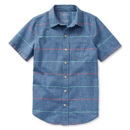 Arizona Little & Big Boys Short Sleeve Button-Down Shirt, Xx-small (4-5) , Blue