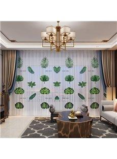 3D Kinds Of Green Leaves Printed Polyester 2 Panels Custom Sheer