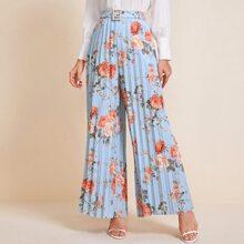 Pearls Buckle Belt Floral Print Pleated Wide Leg Pants