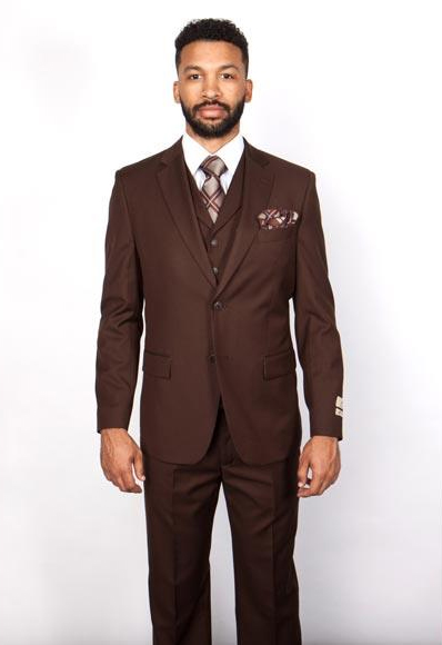 Mens Brown 1 Wool Single Breasted Notch Lapel 5 Button Vested Suit