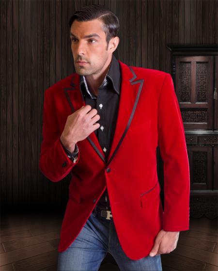 Blazer Formal Tuxedo Jacket Sport Coat Two Tone Trimming Red