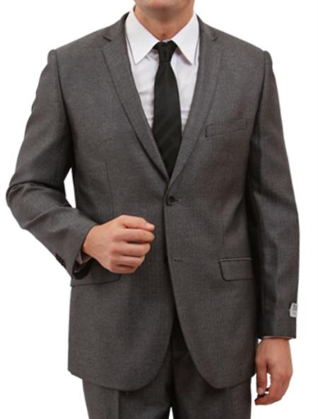 2 Button Solid Grey Front Closure Herringbone Suit  Mens Cheap