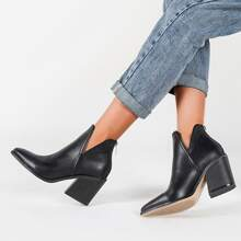 Minimalist Cut Out Chunky Boots