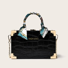 Bolsa caja con diseño de cocodrilo con pañuelo