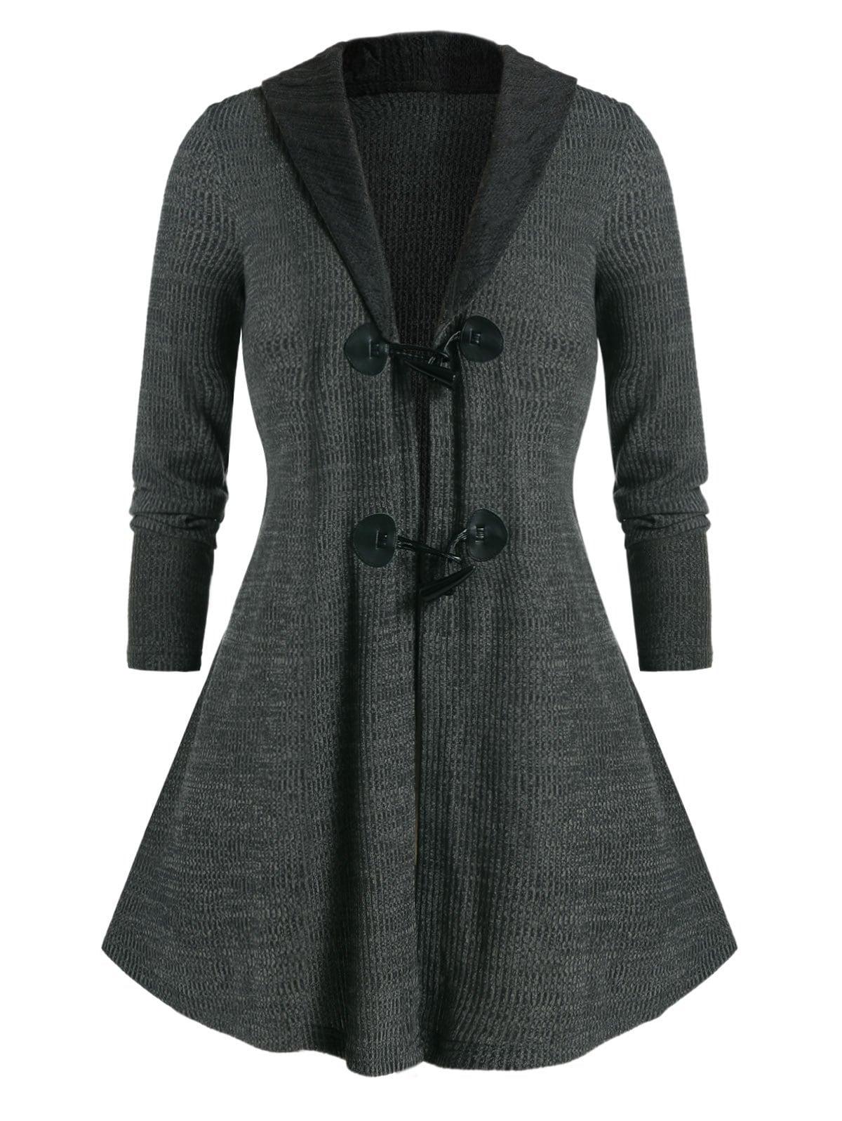 Plus Size Duffle Button Shawl Collar Tunic Knit Cardigan
