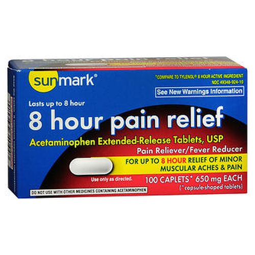 Sunmark 8 Hour Pain Relief Caplets 100 Tabs by Sunmark