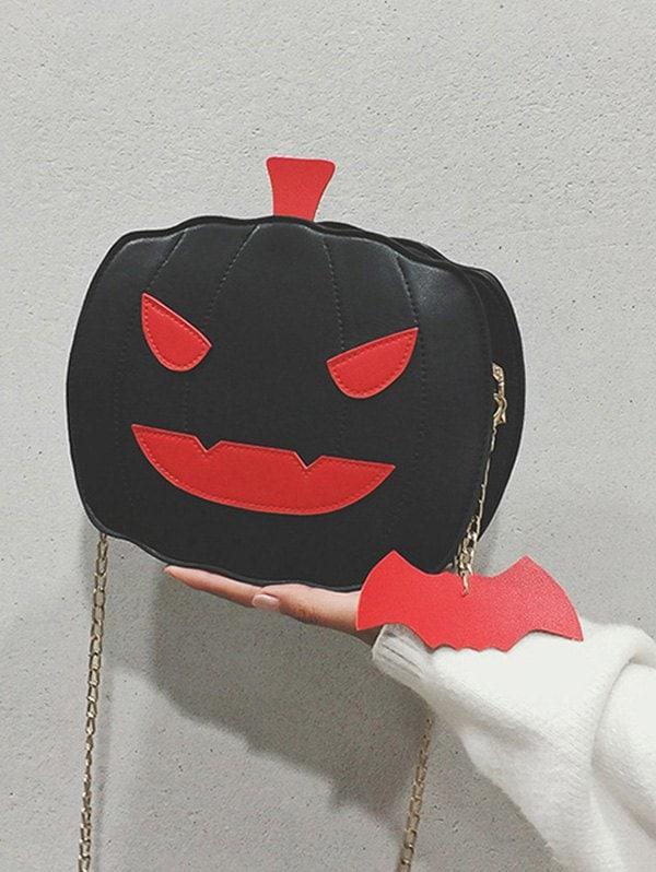 Halloween Pumpkin Bat Chain Crossbody Bag