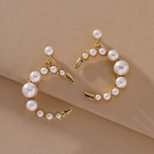 Faux Pearl Decor Drop Earrings