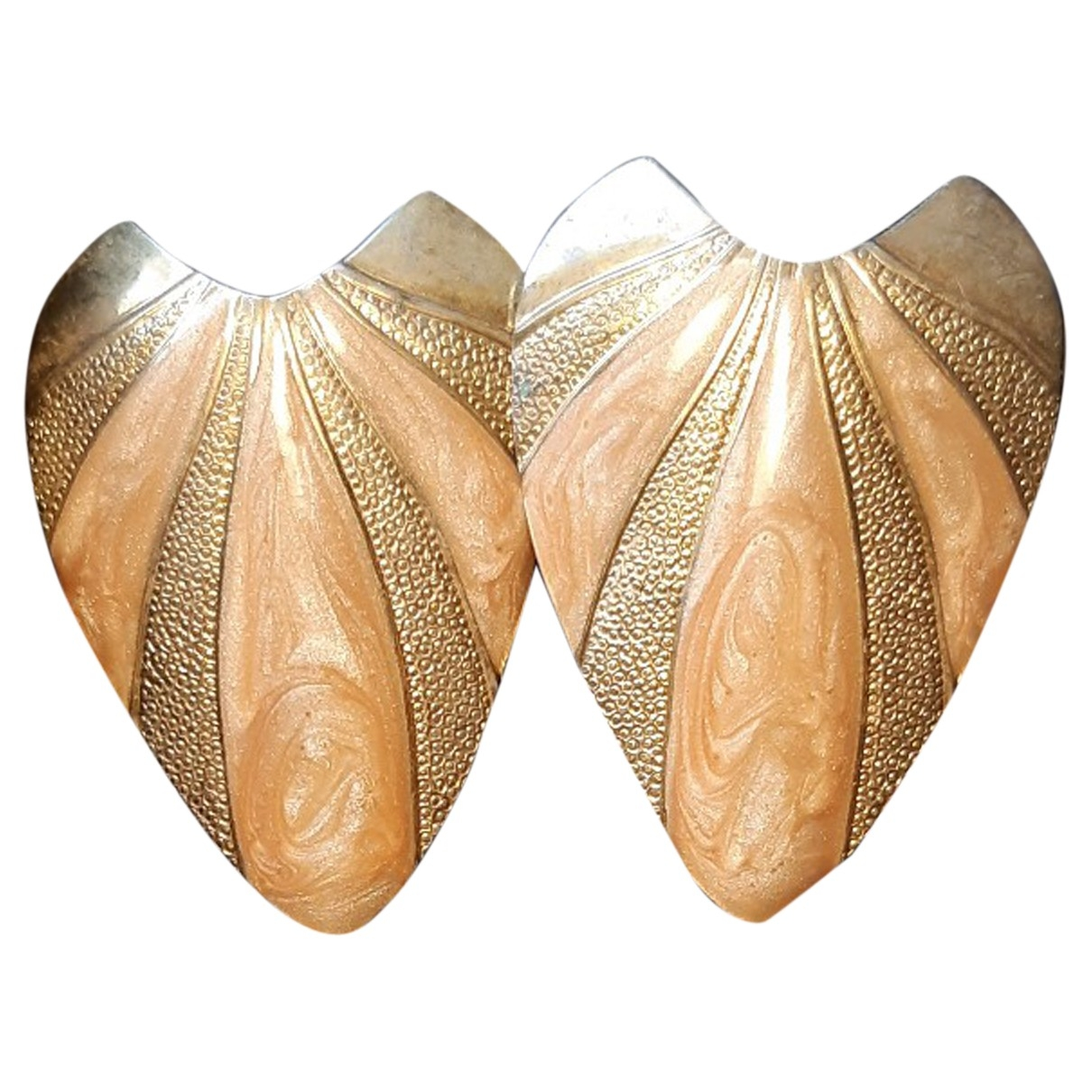 Non Signé / Unsigned Motifs Floraux Gold Metal Earrings for Women \N