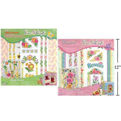 Ensemble de papier pour scrapbooking design floral, 7 paquets, 12