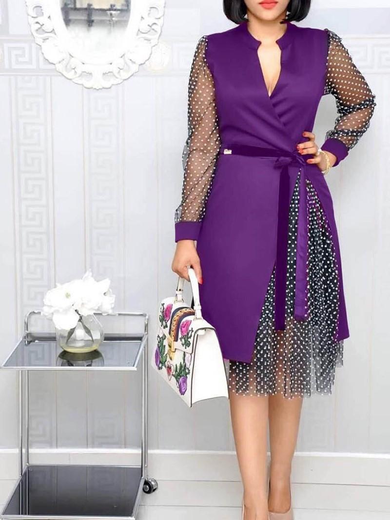 Ericdress V-Neck Long Sleeve Lace-Up Sweet Summer Dress