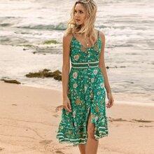 Cami Kleid mit Blumen Muster und Knopfen vorn