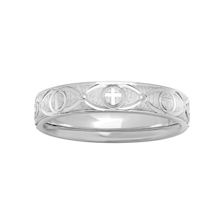 Womens Sterling Silver Ridged Cross Band, 5 1/2 , No Color Family