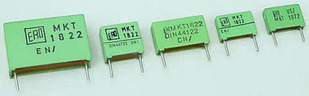 Vishay 220nF Polyester Capacitor PET 40 V ac, 63 V dc ±10%, Through Hole (10)