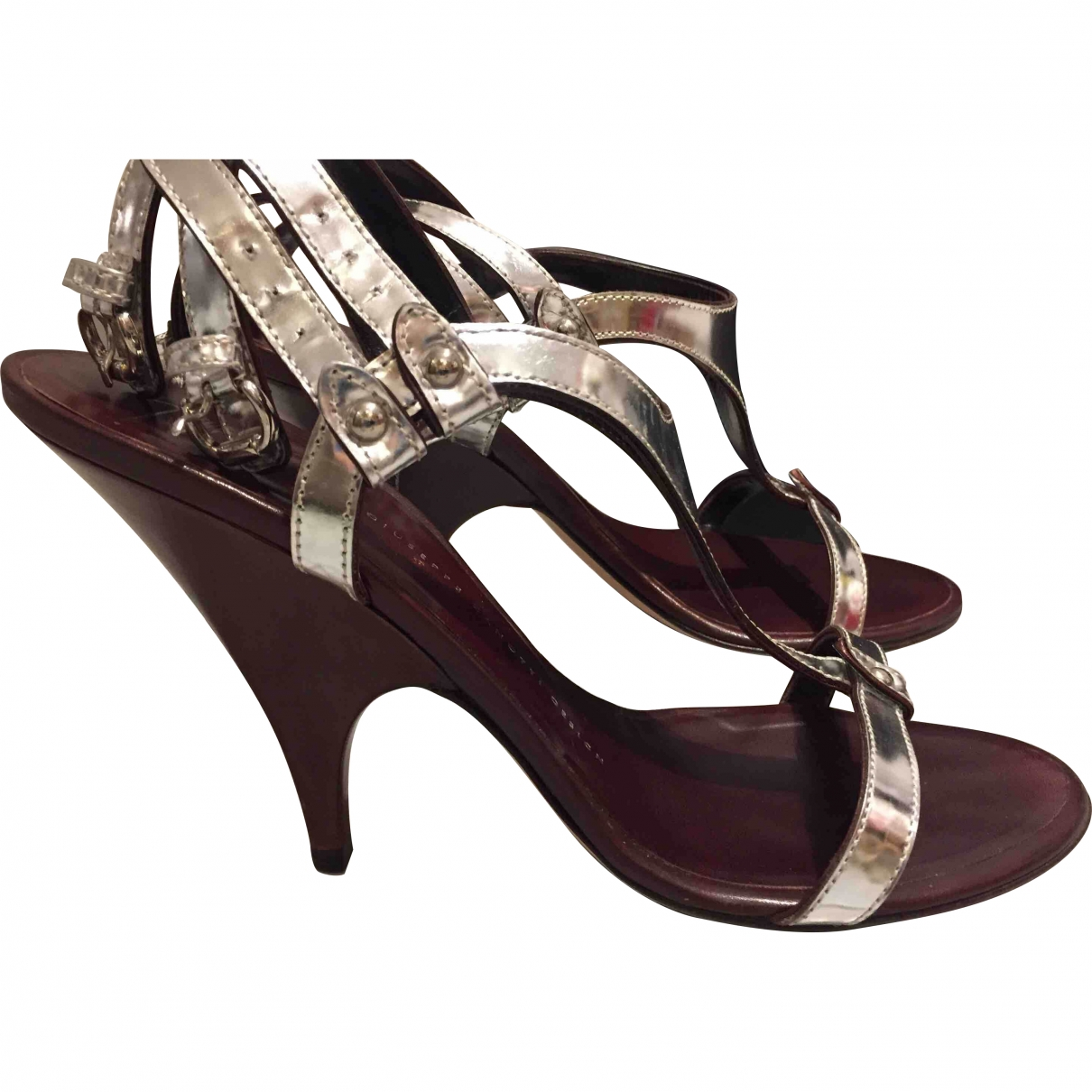 Giuseppe Zanotti \N Silver Leather Sandals for Women 39.5 EU