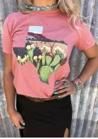 Floral Cactus Texas T-Shirt Tee without Necklace - Pink