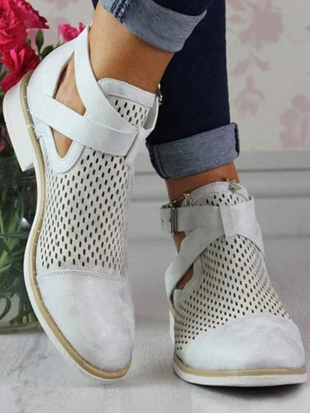 Milanoo Grey Short Boots Women Pointed Toe Buckle Cut Out Summer Boots
