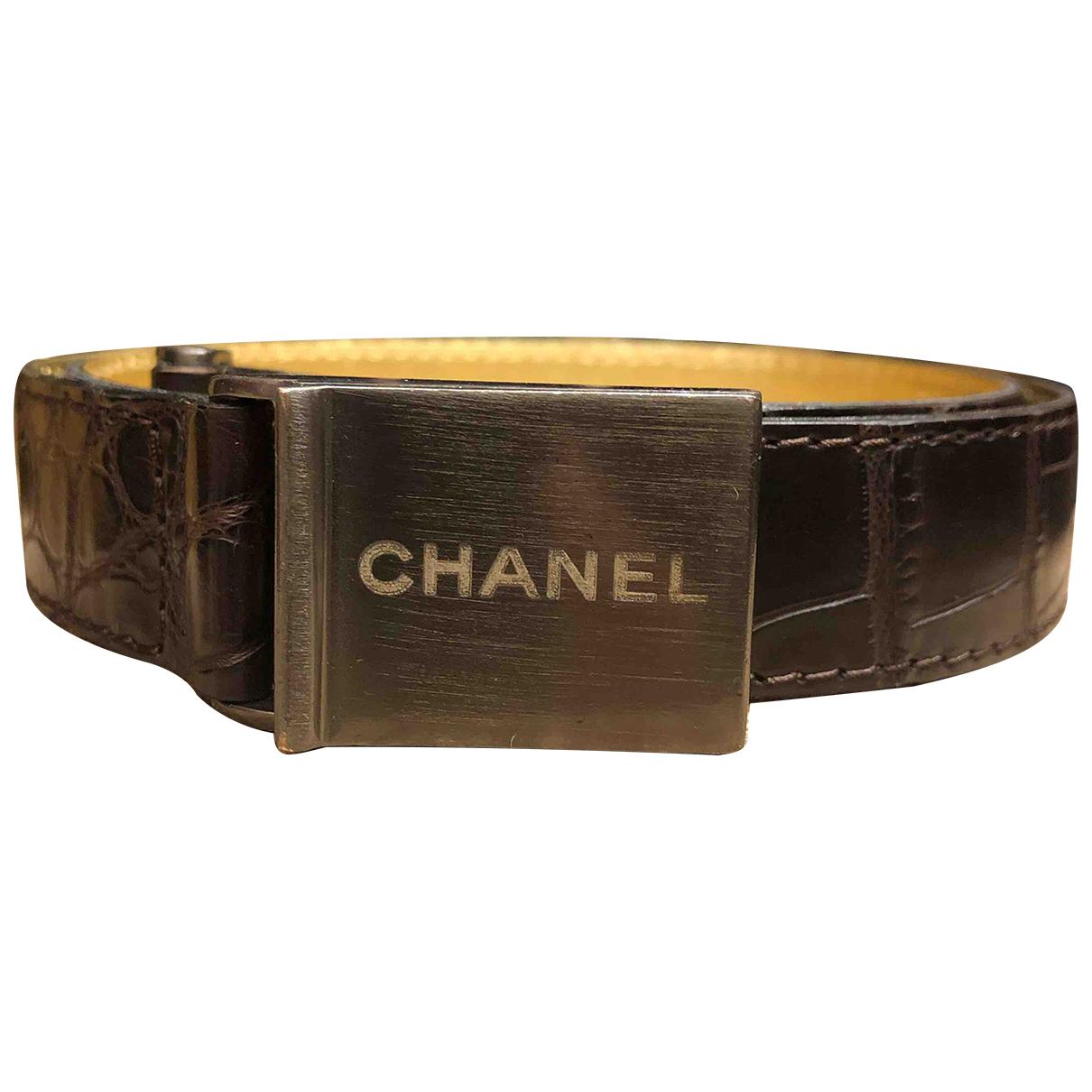 Chanel \N Guertel in  Braun Krokodil