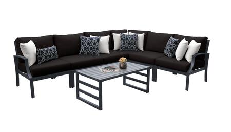 Lexington LEXINGTON-07b-BLACK 7-Piece Aluminum Patio Set 07b with 3 Armless Chairs  1 Left Arm Chair  1 Right Arm Chair  1 Corner Chair and 1 Coffee