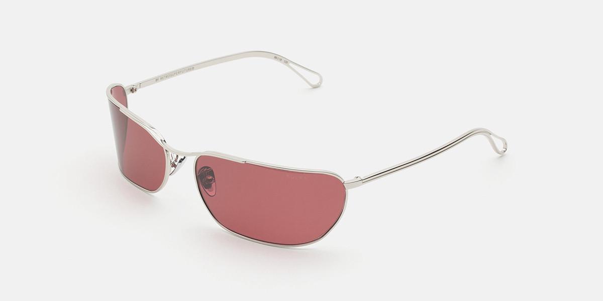 Retrosuperfuture ZEBEDIA BORDEAUX IH2X R7X Men's Sunglasses Silver Size 66
