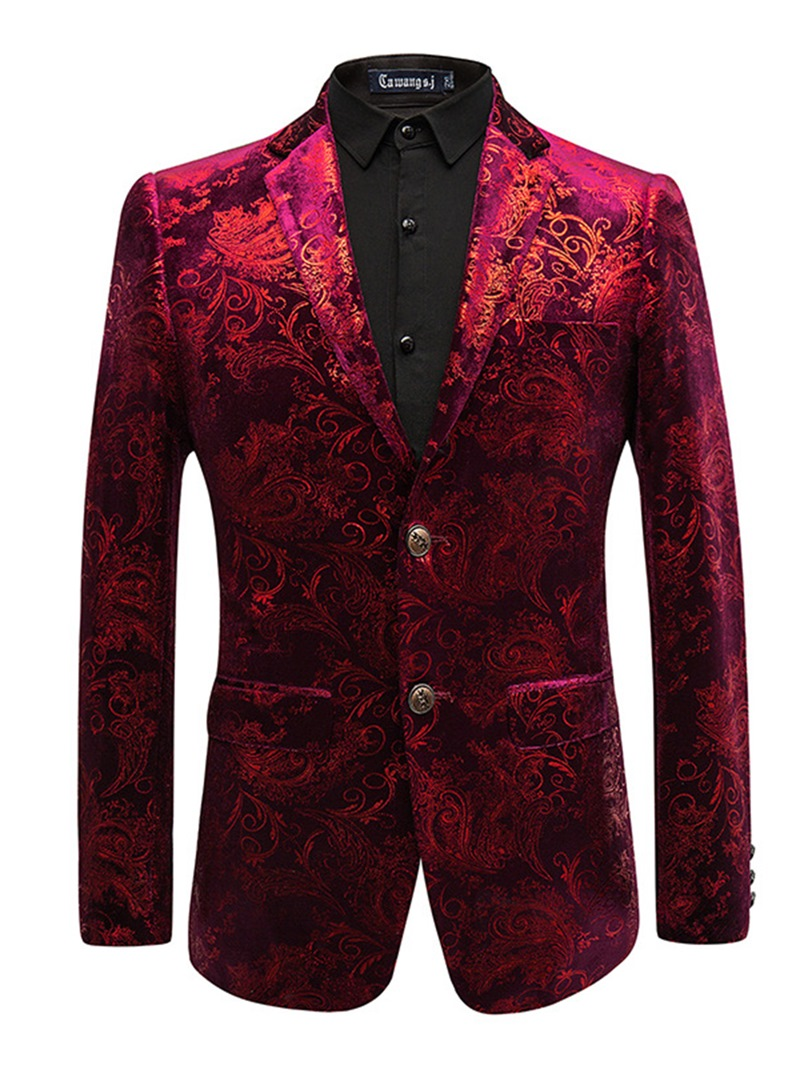 Ericdress Printed Lapel Fit Slim Print Men's Tuxedo Blazer