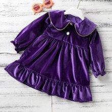 Toddler Girls Velvet Doll Collar Ruffle Hem Dress