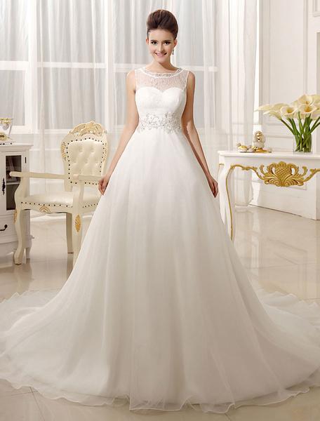 Milanoo Vestido de novia con escote redondo y cuentas de cola capilla