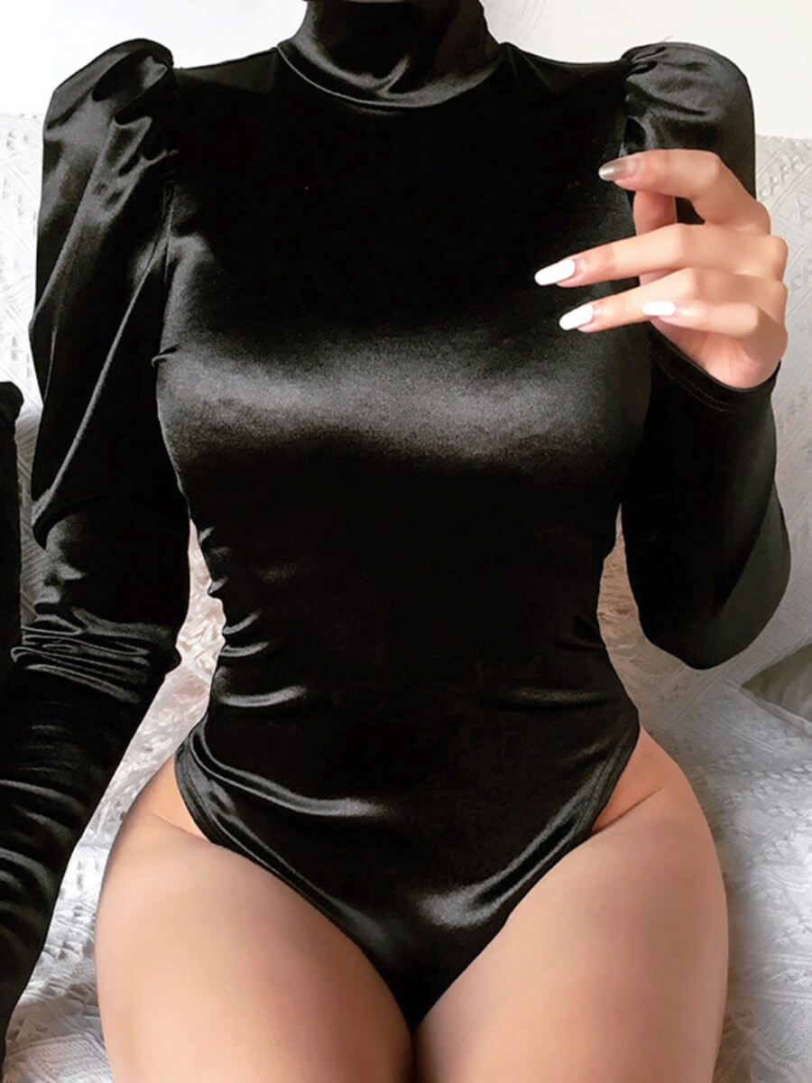 LW Lovely Sexy Turtleneck Ruffle Desigm Black Bodysuit